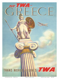Greece - Fly TWA (Trans World Airlines) - Athena, Goddess of War Prints by S. Almaliction
