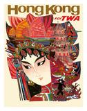 Hong Kong - Fly TWA (Trans World Airlines) Giclee Print by David Klein