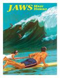 Jaws - Maui, Hawaii - Big Wave Surfing Giclée-tryk af Chas Allen