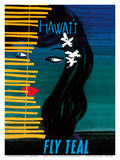Hawaii - Fly Teal (Tasman Empire Airways Limited) - Wahine (Girl) with Orchids Posters by Arthur Alfred Thompson