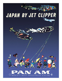 Japan by Jet Clipper - Pan American World Airways - Children's Day - Koinobori Wydruk giclee autor Aaron Fine
