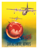 Fly British across the World - London to Sydney - Qantas Empire Airways Giclee Print by Russell Roberts