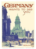 Germany Wants to See You - Berlin - French Church of Friedrichstadt, Berlin Concert Hall Print by Friedel Dzubas