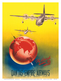 Fly British across the World - London to Sydney - Qantas Empire Airways Poster by Russell Roberts