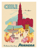 Chile - Plaza de Armas - Santiago - PANAGRA (Pan American Grace Airways) Lámina giclée por C. Bush