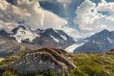 Mt. Athabasca, and Mt. Andromeda and Columbia Icefield, Jasper NP Photographic Print by Howie Garber