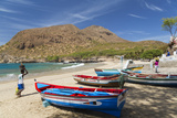 Fishing Boats on Beach, Tarrafal, Santiago Island, Cape Verde Photographic Print by Peter Adams