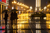 China, Chongqing, Pedestrians Walking with Umbrellas Along the Street Photographic Print by Paul Souders