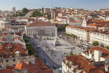 View over Rossio Square Praca Dom Pedro Iv, Lisbon, Portugal Photographic Print by Peter Adams