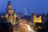 View over Victoria Terminus and Central Mumbai at Dusk, Mumbai, India Photographic Print by Peter Adams