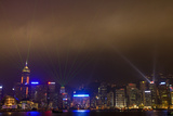 Asia, China, Hong Kong, Night Laser Show on Hong Kong Waterfront Photographic Print by Terry Eggers