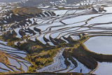 Reflections Off Water Filled Rice Terraces, Yuanyang, Honghe, China Photographic Print by Peter Adams