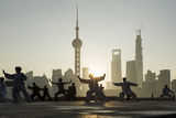 China, Shanghai, Martial Arts Group Practicing Tai Chi at Dawn Photographic Print by Paul Souders
