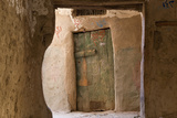Door in Oasis Town of Al Qasr in Western Desert of Egypt with Old Town Fotografisk tryk af Peter Adams