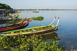 Myanmar. Mandalay. Amarapura. Taungthaman Lake. Colorful Boats Photographic Print by Inger Hogstrom