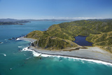 Aerial Overlooking Cook Strait, Wellington, New Zealand Photographic Print by David Wall