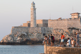 Caribbean, Cuba, Havana. Sunset and Fishing Along the Malecon Photographic Print by Emily Wilson