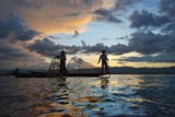 Intha Fisherman Rowing at Sunset on Inle Lake, Shan State, Myanmar Photographic Print by Keren Su