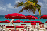 Umbrellas Along Orient Beach, Saint Martin, West Indies Photographic Print by Brian Jannsen