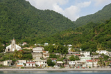 Dominica, Roseau, View of Villages South of Roseau on the Green Hills Fotografisk trykk av Anthony Asael