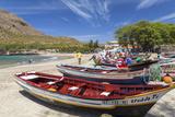 Fishing Boats on Beach, Tarrafal, Santiago Island, Cape Verde Fotografisk tryk af Peter Adams