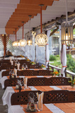 Bulgaria, Black Sea Coast, Nesebar, Outdoor Restaurant Patio Photographic Print by Walter Bibikow