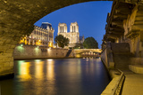 Twilight, Cathedral Notre Dame and River Seine, Paris, France Photographic Print by Brian Jannsen