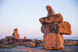Canada, Nunavut, Rocks Cairns on Harbour Islands Along Hudson Bay Photographic Print by Paul Souders