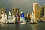 Sailboat Race, Ala Moana Beach Park, Waikiki, Honolulu, Hawaii Photographic Print by Douglas Peebles
