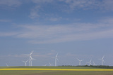 Romania, Danube River Delta, Bestepe, Farm Fields and Windmills Photographic Print by Walter Bibikow