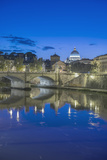 Italy, Rome, Tiber River and Ponte Vittorio Emanuele at Twilight Photographic Print by Rob Tilley