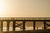 California, Santa Barbara Co, Goleta Beach Co Park, Pier at Sunset Photographic Print by Alison Jones