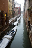 Canal with Snow on Gondolas with Bridge Sigh, Venice, Italy Photographic Print by Darrell Gulin