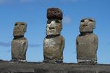 Chile, Easter Island, Rapa Nui NP, Ahu Tongariki. Moai with Pukao Photographic Print by Cindy Miller Hopkins