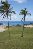 Easter Island. Rapa Nui NP, Anakena and Ahu Nau Nau. Moai Statues Photographic Print by Cindy Miller Hopkins