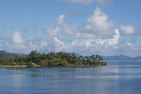 Society Islands, French Polynesia. Palm Tree Lined Waterfront View Photographic Print by Cindy Miller Hopkins