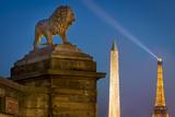 Lion, Obelisk, and Eiffle Tower at Place de La Concorde, Paris, France Photographic Print by Brian Jannsen