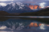 Lago Pehoe with Horn of Torres del Paine, Patagonia, Magellanic, Chile Photographic Print by Pete Oxford