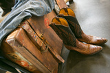 Cowboy Snakeskin Boots and an Antique Suitcase, Santa Fe, New Mexico Photographic Print by Julien McRoberts