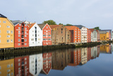 Trondheim, Norway, Old Warehouses Now Homes over the River Fotodruck von Bill Bachmann