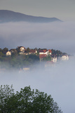 Romania, Transylvania, Brasov, Town Buildings in Fog, Dawn Photographic Print by Walter Bibikow