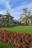 Bergen, Norway, Music Pavilion Colorful Gazebo with Flowers, Downtown Photographic Print by Bill Bachmann