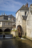 Mill Along River Weir and Medieval Town of Bayeux, Normandy France Photographic Print by Brian Jannsen