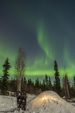USA, Alaska, Fairbanks. a Quinzee Snow Shelter and Aurora Borealis Photographic Print by Cathy & Gordon Illg