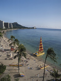 Hawaii Islands, Oahu, Waikiki, View of Waikiki Beach Photographic Print by Douglas Peebles