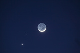 USA, California. Moon, Venus and Pluto in the Night Sky Photographic Print by Dennis Flaherty