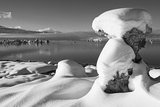 USA, California, Mono Lake. Snow-Covered Tufa Photographic Print by Dennis Flaherty