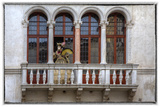 Venice, Italy. Mask and Costumes at Carnival on Balcony Photographic Print by Darrell Gulin