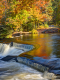 Michigan. Trees Reflect in Cascade Above Bond Falls, Ontonagon River Photographic Print by Julie Eggers