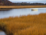 USA, Maine. Boat Anchored in Mousam River Photographic Print by Steve Terrill